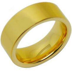 *COI Gold Tone Titanium Polished Shiny Pipe Cut Flat Ring - JT3855