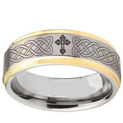 COI Titanium Gold Tone Silver Celtic Cross Step Edges Ring-2895