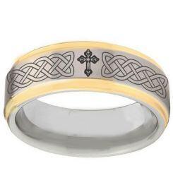 *COI Titanium Gold Tone Silver Celtic Cross Step Edges Ring-2895