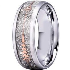 COI Titanium Meteorite Ring With Rose Arrows-2935