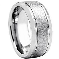 COI Titanium Sandblasted Double Grooves Ring - JT2996AA