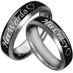 *COI Titanium His Crazy Her Weirdo Beveled Edges Ring-JT3532