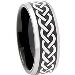 *COI Titanium Black Silver Celtic Beveled Edges Ring - 3086
