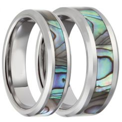 COI Titanium Beveled Edges Ring With Abalone Shell-JT3089