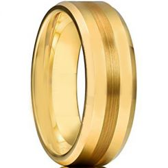 COI Gold Tone Titanium Beveled Edges Wedding Band Ring - JT1048A