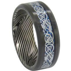 COI Black Titanium Damascus Dragon Beveled Edges Ring-JT3139