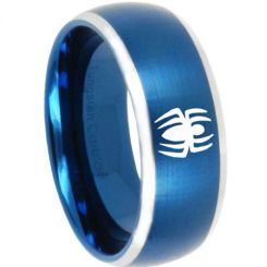 COI Titanium Blue Silver Spider Man Beveled Edges Ring - 3161