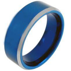 COI Titanium Blue Silver Beveled Edges Ring-JT3171AA