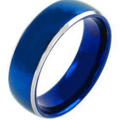 COI Titanium Blue Silver Beveled Edges Ring - JT3172AA