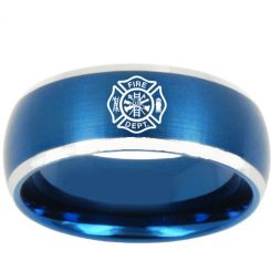 COI Titanium Blue Silver Fire Fighter Beveled Edges Ring - 3187