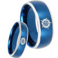 COI Titanium Blue Silver Supernatural Beveled Edges Ring-3207