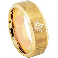 COI Gold Tone Titanium Masonic Step Edges Ring - 3216