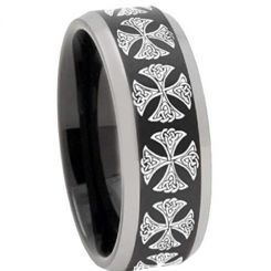 COI Titanium Black Silver Cross Beveled Edges Ring - 3250