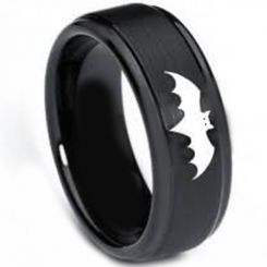 COI Black Titanium Batman Step Edges Ring - 3264