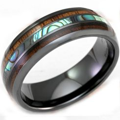 COI Black Titanium Abalone Shell & Wood Dome Court Ring - 3315