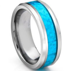 COI Titanium Beveled Edges Ring With Crushed Opal - 3336