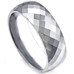 COI Titanium Faceted Wedding Band Ring - JT4108