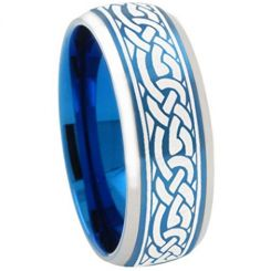 COI Titanium Blue Silver Celtic Beveled Edges Ring - 3357