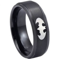 *COI Black Titanium Batman Step Edges Ring - 3389