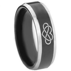 **COI Titanium Black Silver Infinity Heart Beveled Edges Ring-3446