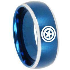 COI Titanium Blue Silver Green Lantern Beveled Edges Ring - 3451