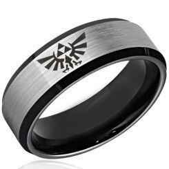 *COI Titanium Black Silver Legend of Zelda Beveled Edge Ring-3477