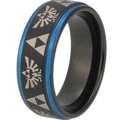 COI Titanium Black Blue Legend of Zelda Step Edges Ring-3483