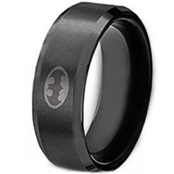 *COI Black Titanium Batman Beveled Edges Ring - JT1814AA