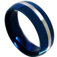 COI Titanium Blue Silver Center Line Dome Court Ring - JT3582