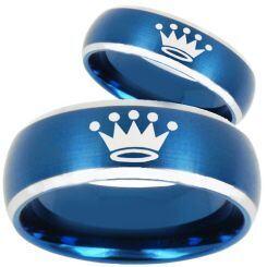 COI Titanium Blue Silver King Crown Beveled Edges Ring-3590