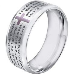 COI Titanium Cross Prayer Beveled Edges Ring-3599