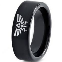 COI Black Titanium Legend of Zelda Pipe Cut Flat Ring - 3633