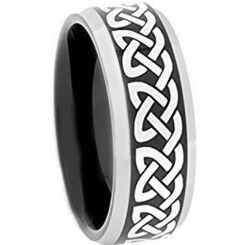 **COI Titanium Black Silver Celtic Beveled Edges Ring - 4496