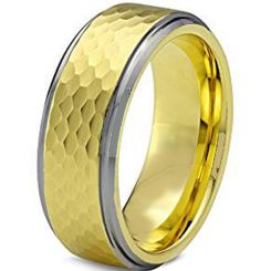 COI Titanium Hammered Step Edges Ring - JT3656
