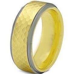 COI Titanium Gold Tone Silver Hammered Step Edges Ring - JT3656