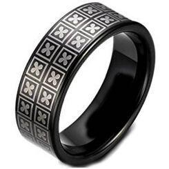 COI Black Titanium Four Leaf Clover Pipe Cut Flat Ring- JT3667