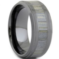 COI Black Titanium Wood Step Edges Ring-3668