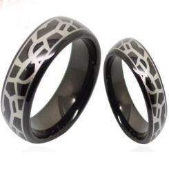 COI Black Titanium Snake Skin Pattern Dome Court Ring-3687