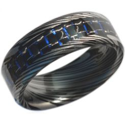 COI Black Titanium Damascus Carbon Fiber Ring-JT3693