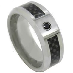 *COI Titanium Ring With Carbon Fiber & Cubic Zirconia-JT5087