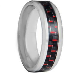 COI Titanium Beveled Edges Ring With Carbon Fiber - JT4122