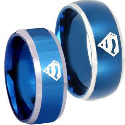 COI Titanium Blue Silver SuperMan Beveled Edges Ring - JT3722