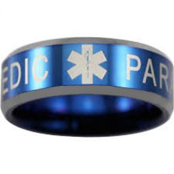 COI Titanium Blue Silver Medic Alert Beveled Edges Ring-3768