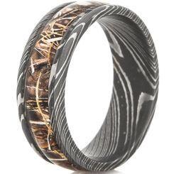 **COI Black Titanium Camo Damascus Beveled Edges Ring-JT3782