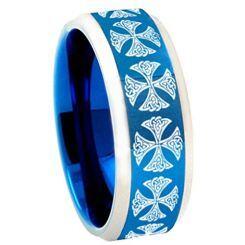 COI Titanium Blue Silver Cross Beveled Edges Ring - 3783