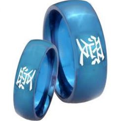 COI Blue Titanium Dome Court Ring With Kanji Love-3786