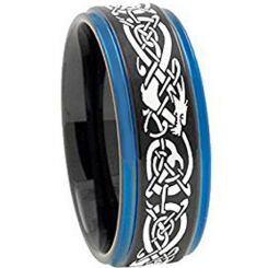 *COI Titanium Black Blue Dragon Step Edges Ring - 3797AA