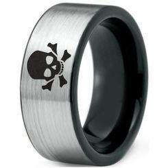 COI Titanium Black Silver Skull & Bones Pipe Cut Flat Ring-3808