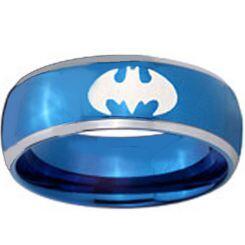COI Titanium Blue Silver BatMan Beveled Edges Ring - JT1983A