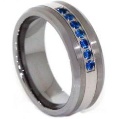 *COI Titanium Created Sapphire Beveled Edges Ring-3813